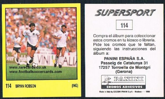 1988 Spanish Panini Supersport 114 Bryan Robson Man U Boro WBA